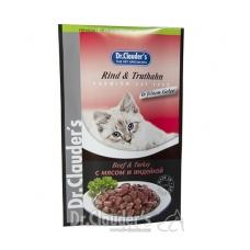 DR. CLAUDER'S drėgnas maistas katėms su jautiena ir kalakutiena drebučiuose, 100 g