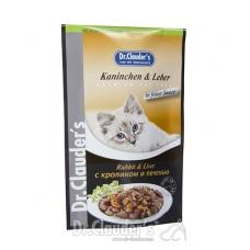 DR. CLAUDER'S drėgnas maistas katėms su triušiena ir kepenimis padaže, 100 g