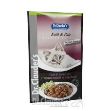 DR. CLAUDER'S drėgnas maistas katėms su veršiena ir kalakutiena drebučiuose, 100 g