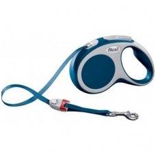 Flexi Vario S automatinis juostinis pavadėlis šunims iki 15 kg, mėlynas-pilkas, 5 m