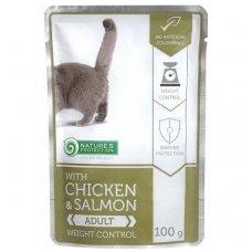 Nature's Protection with Chicken & Salmon Weight Control konservai pakeliuose su vištiena ir lašiša suaugusioms katėms 100 g