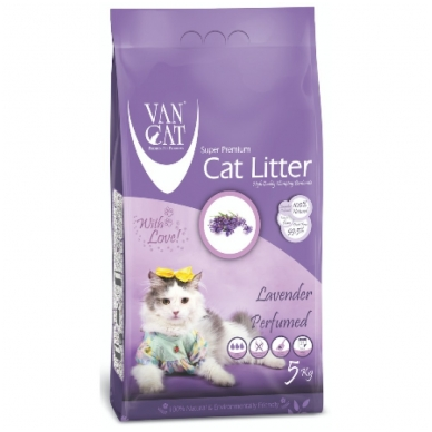Van Cat bentonitinis kraikas katėms, levandų kvapo, 5 kg